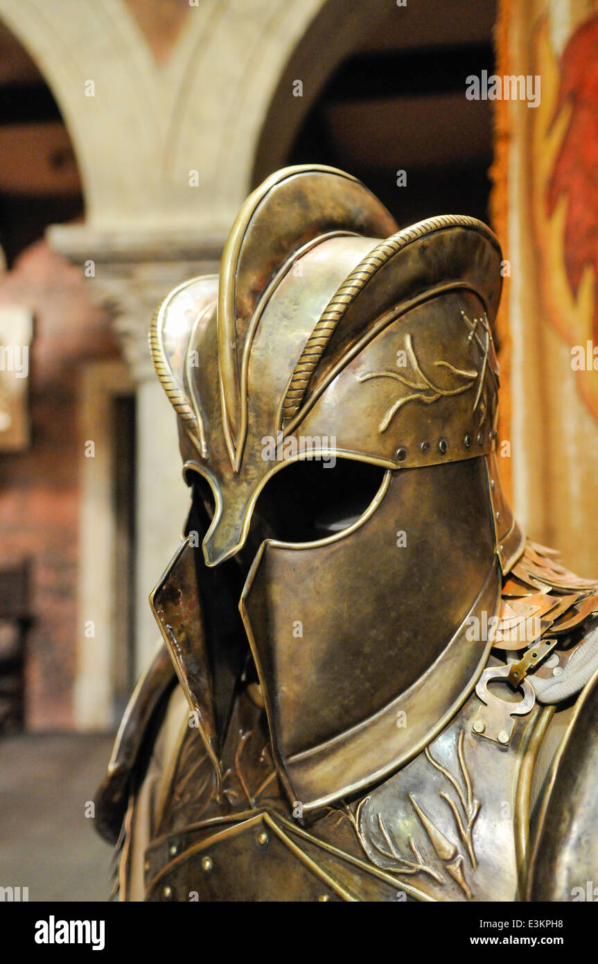 Jaime Lannister's helmet and armour from Game of Thrones. - Stock Image