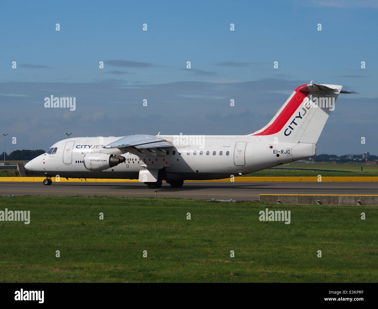 EI-RJC Avro Regional Jet RJ85 CityJet taxiing at Schiphol (AMS - EHAM), The Netherlands, 18may2014, pic-4 - Stock Image