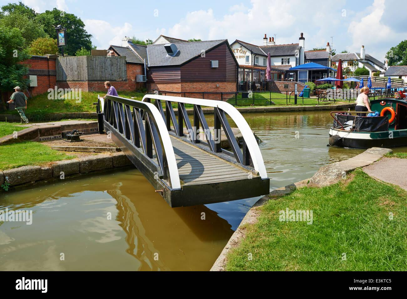 Swingbridge at Foxton Locks Market Harborough Leicestershire UK - Stock Image