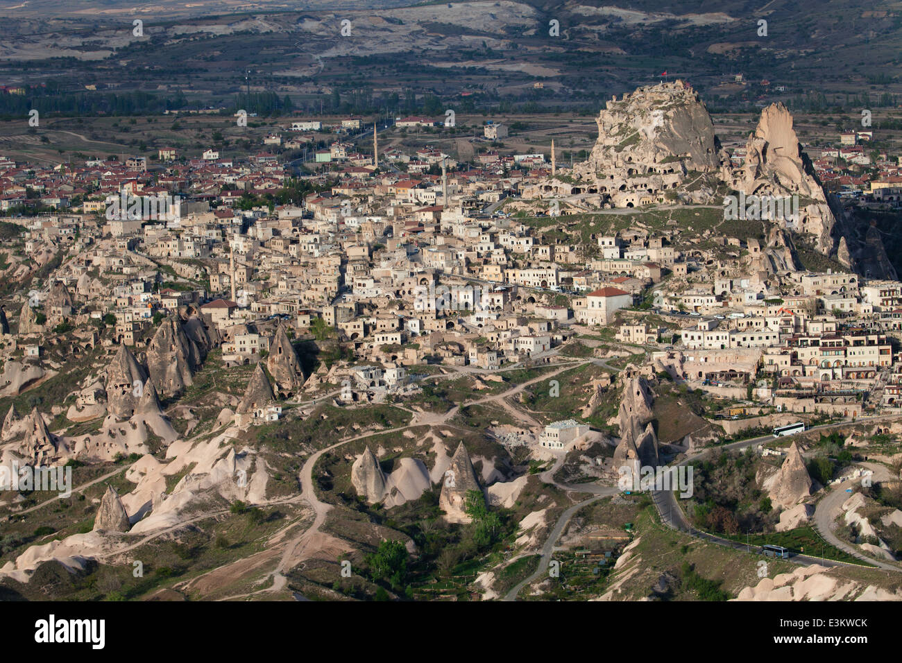 Aerial view of Uchisar Castle in Nevsehir, Turkey - Stock Image