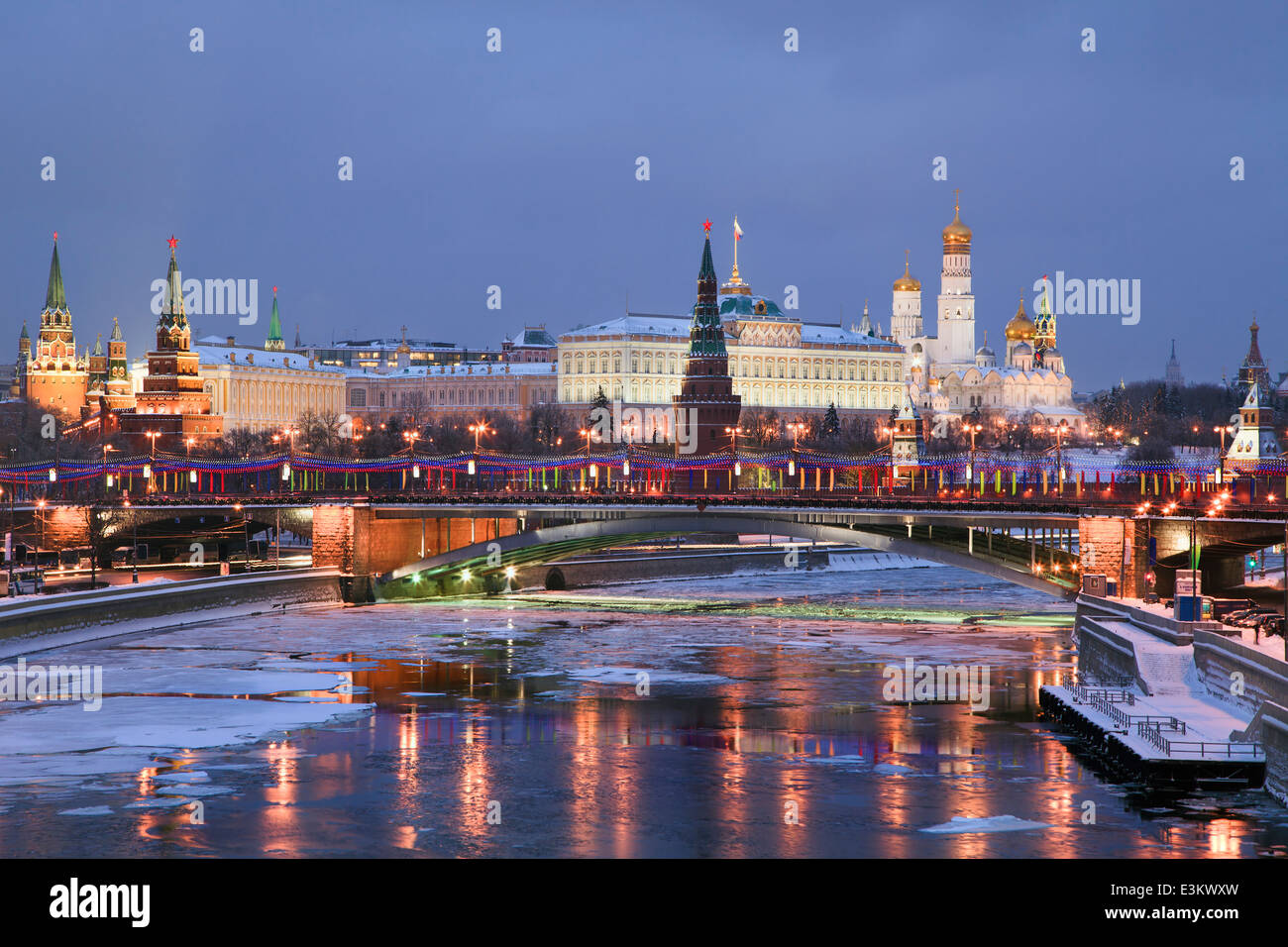 View of Moscow river and Kremlin embankment at the night - Stock Image