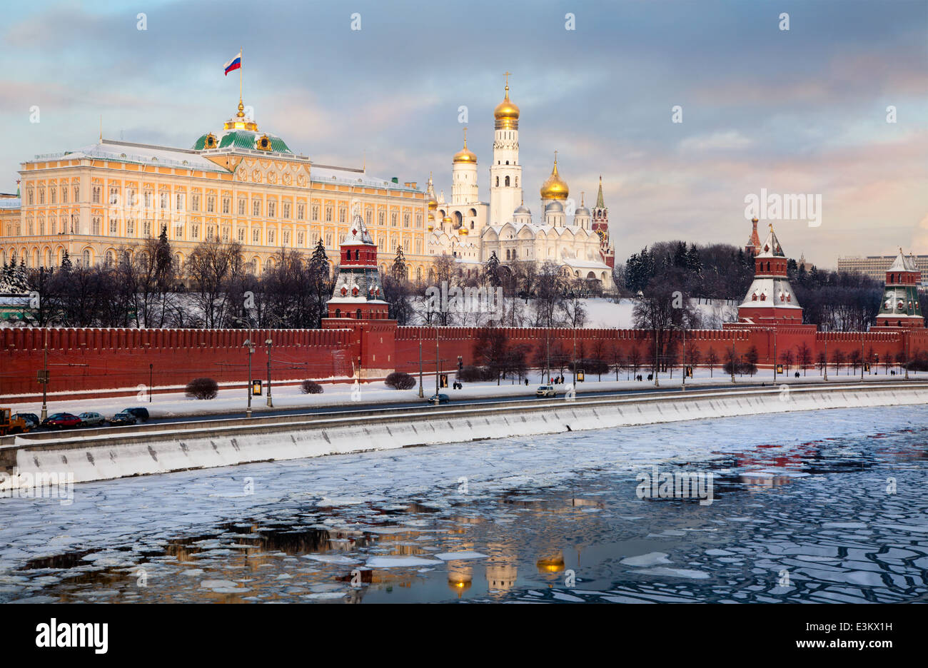 Winter view of the Grand Kremlin Palace and The Kremlin embankment in center of Moscow - Stock Image