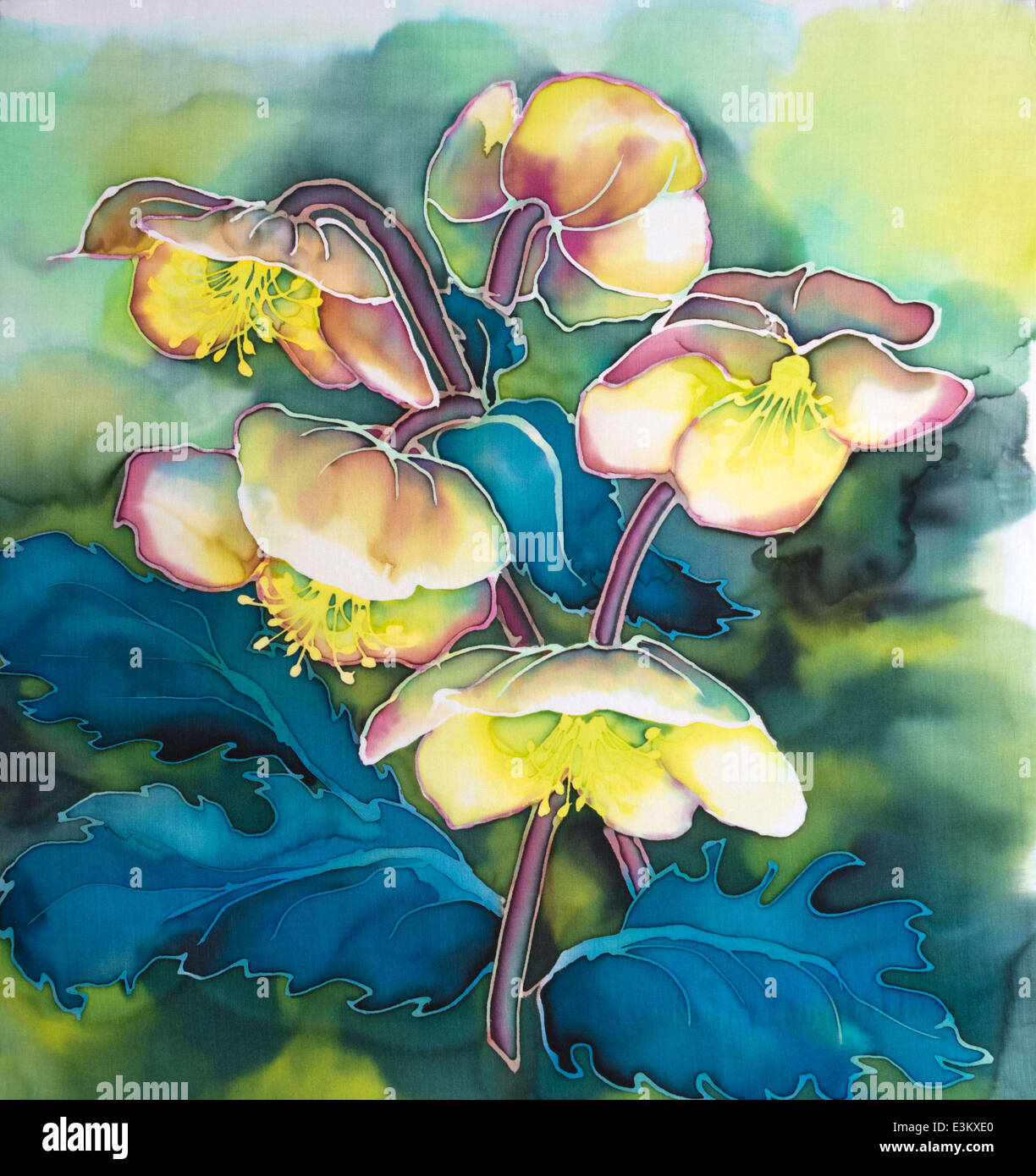 Photograph of silk painting of pale coloured hellebore flowers on photograph of silk painting of pale coloured hellebore flowers on diffuse background using steam fixed dyes by paula chapman mightylinksfo