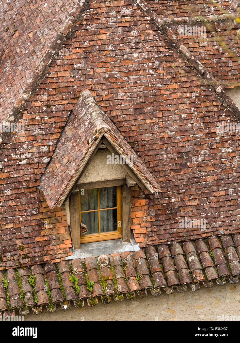 Dormer window in a tiled roof with bird house. A birdhouse hangs outside a small dormer window set into the red - Stock Image
