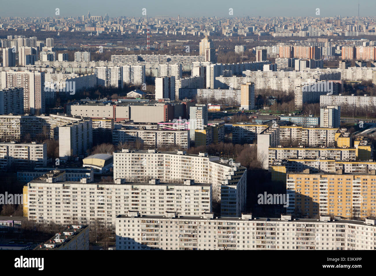 Aerial view of Moscow district,Russia - Stock Image
