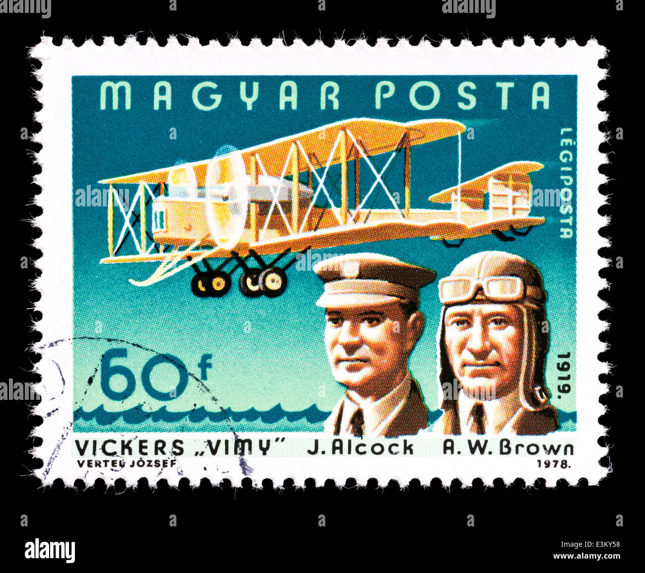 Postage stamp fro Hungary depicting Captain Sir John William Alcock and Lieutenant Colonel Sir Arthur Whitten Brown - Stock Image