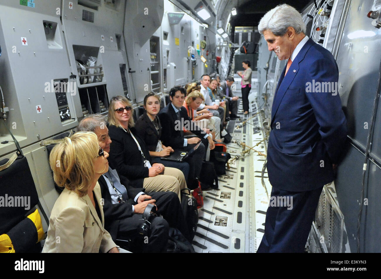 Secretary Kerry Talks With Traveling Press Corps En Route to Iraq - Stock Image