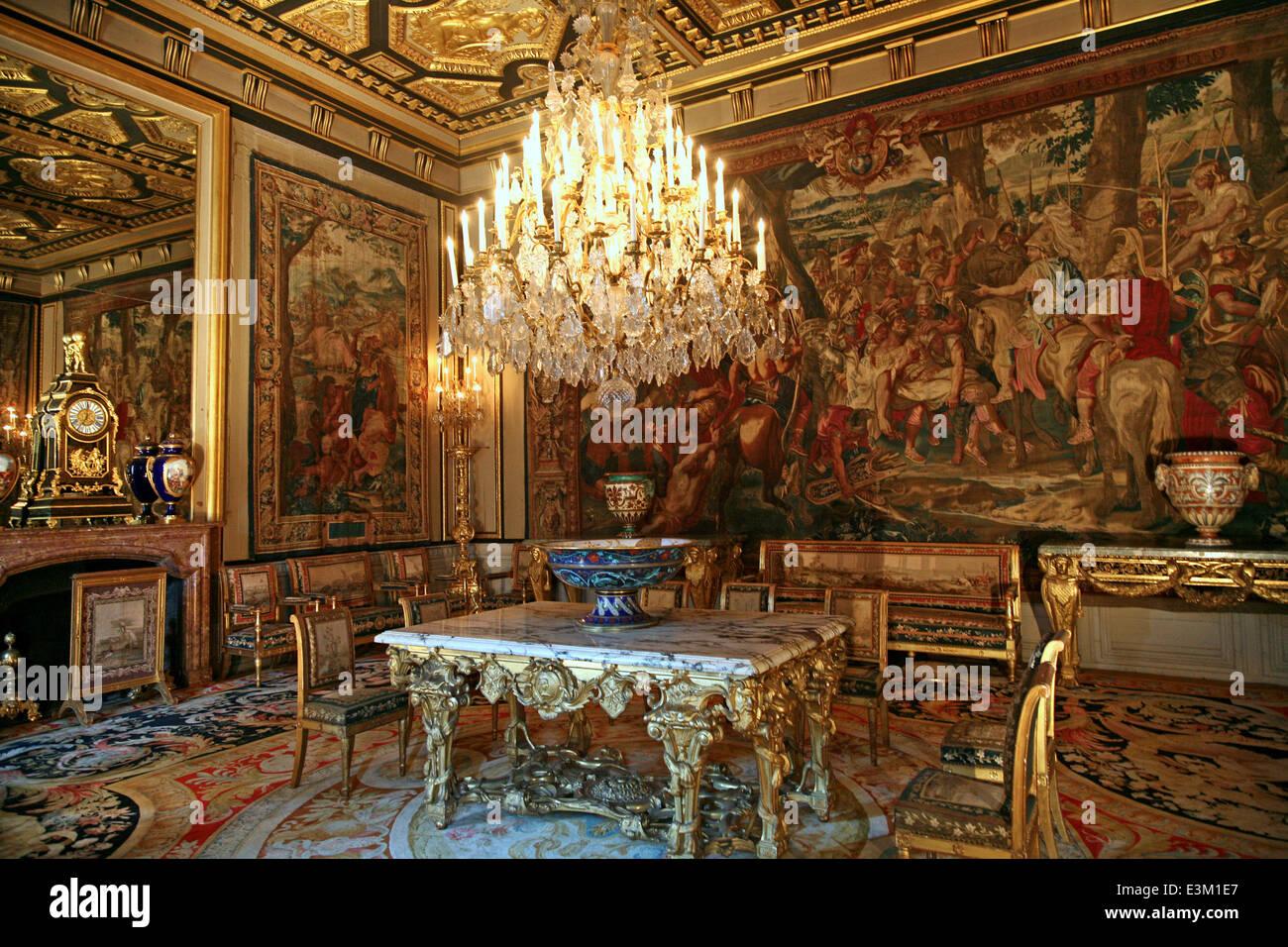 Chateau de fontainebleau palace dining room stock photo 71125663 alamy - Table des marechaux fontainebleau ...