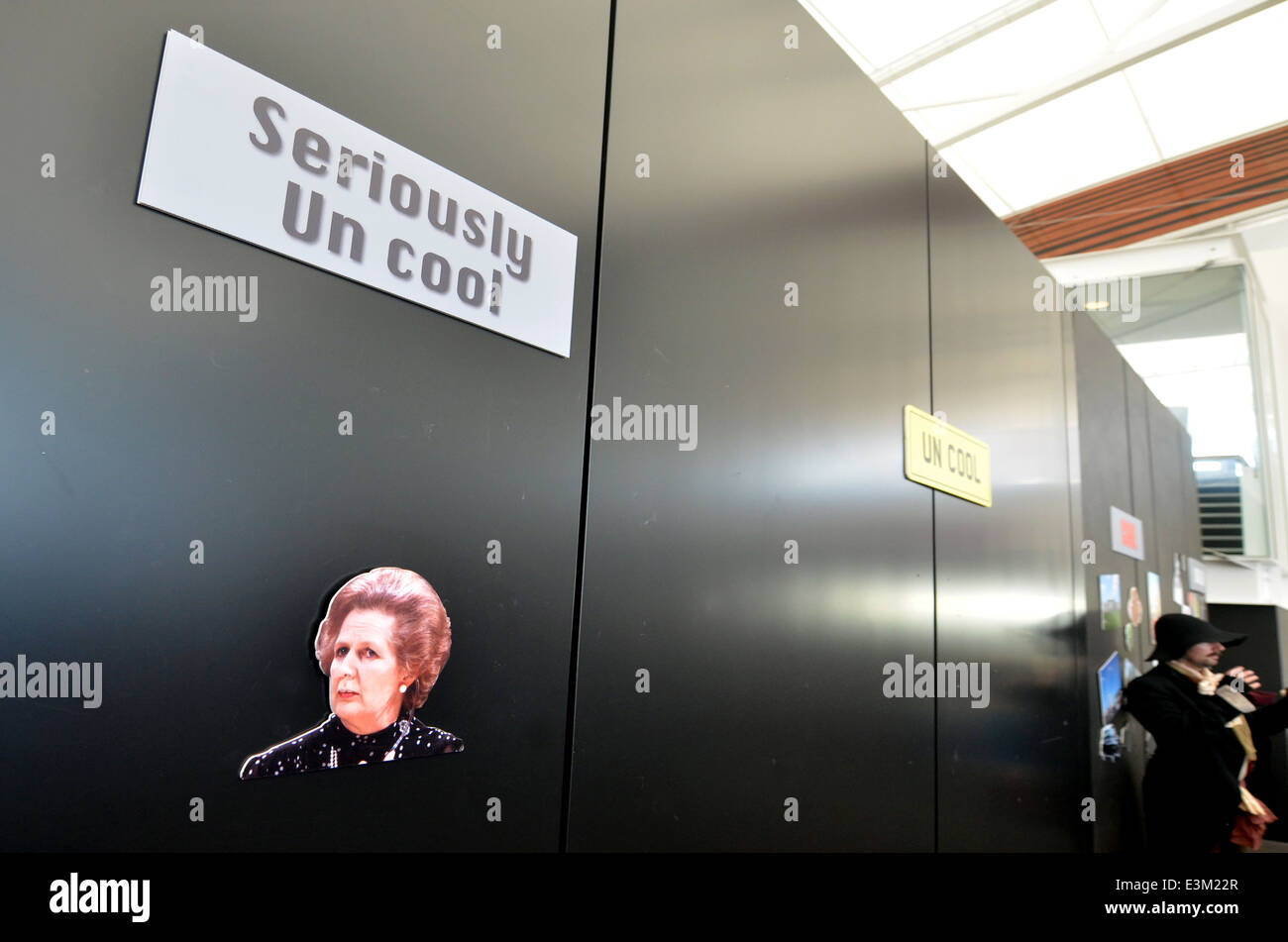 AUCKLAND - JUNE 01 2014:Margaret Thatcher photo on the wall of shame during Queens birthday in Auckland, New Zealand. - Stock Image