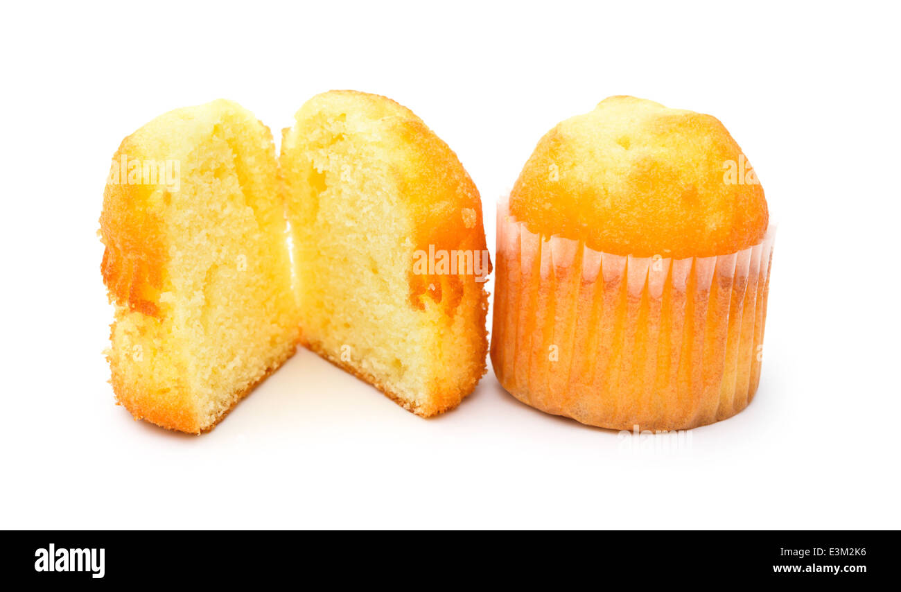 two golden cup cakes on a white background - Stock Image