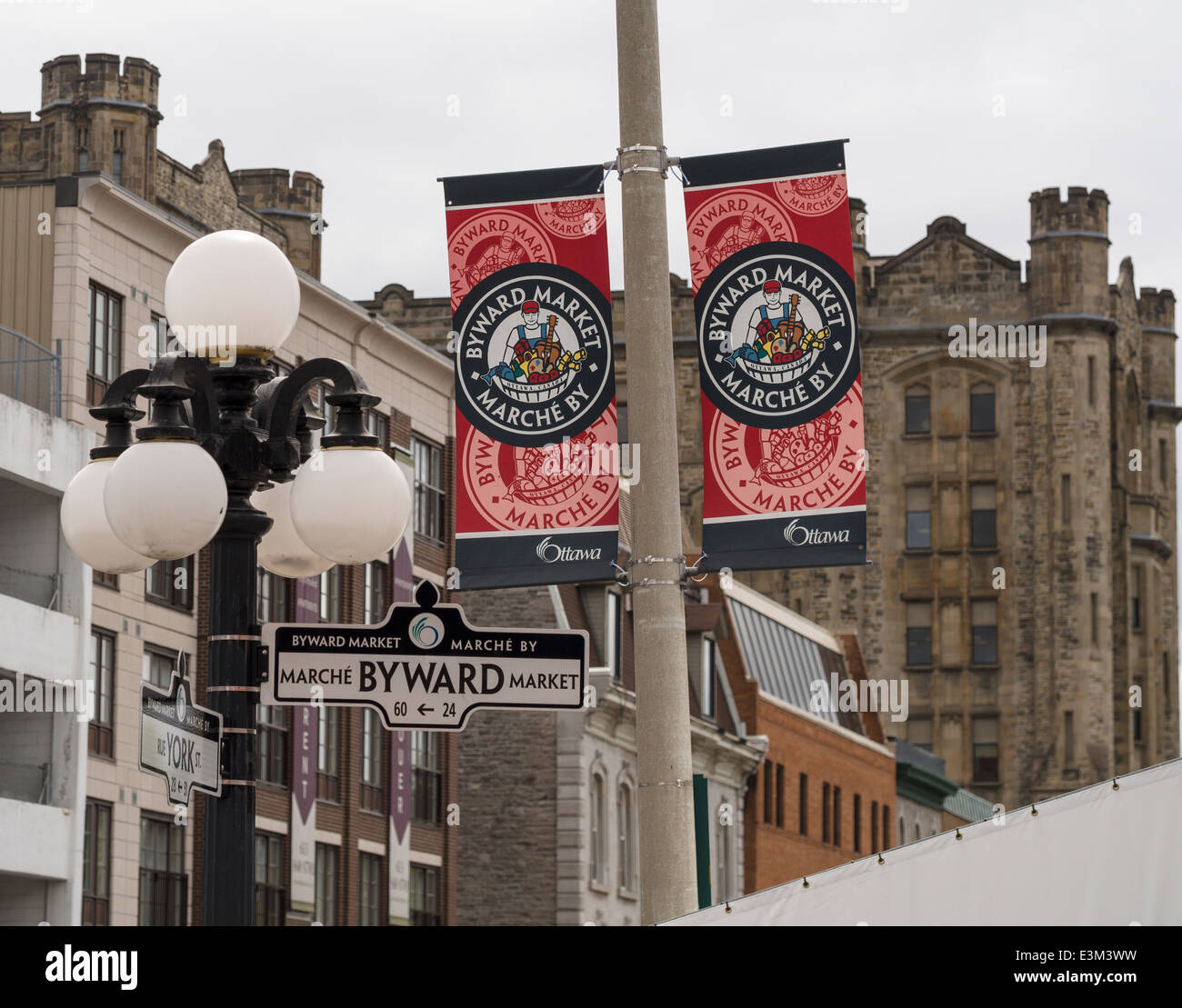 Byward Market banner on a lamp post, Byward Market street sign below. A market banner in the downtown lowertown - Stock Image
