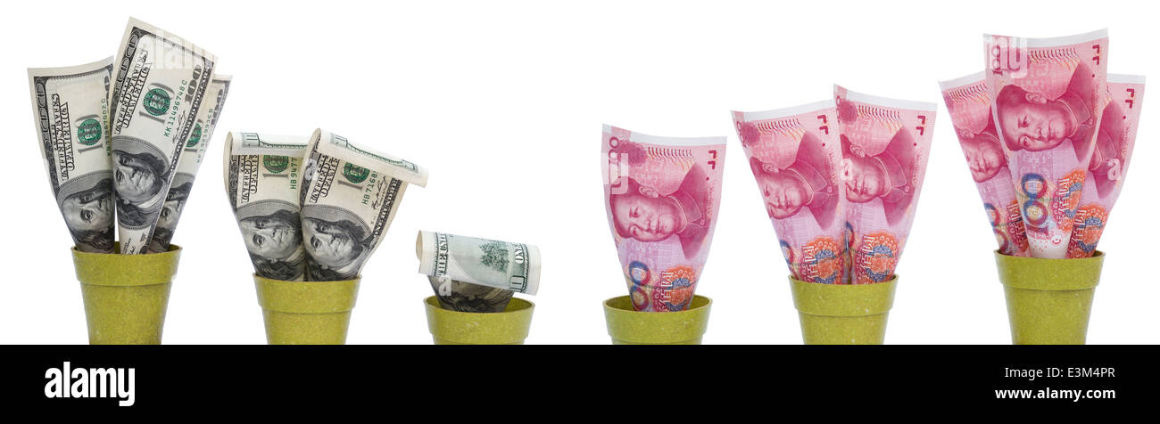 USD dropping and RMB rising with clipping path - Stock Image