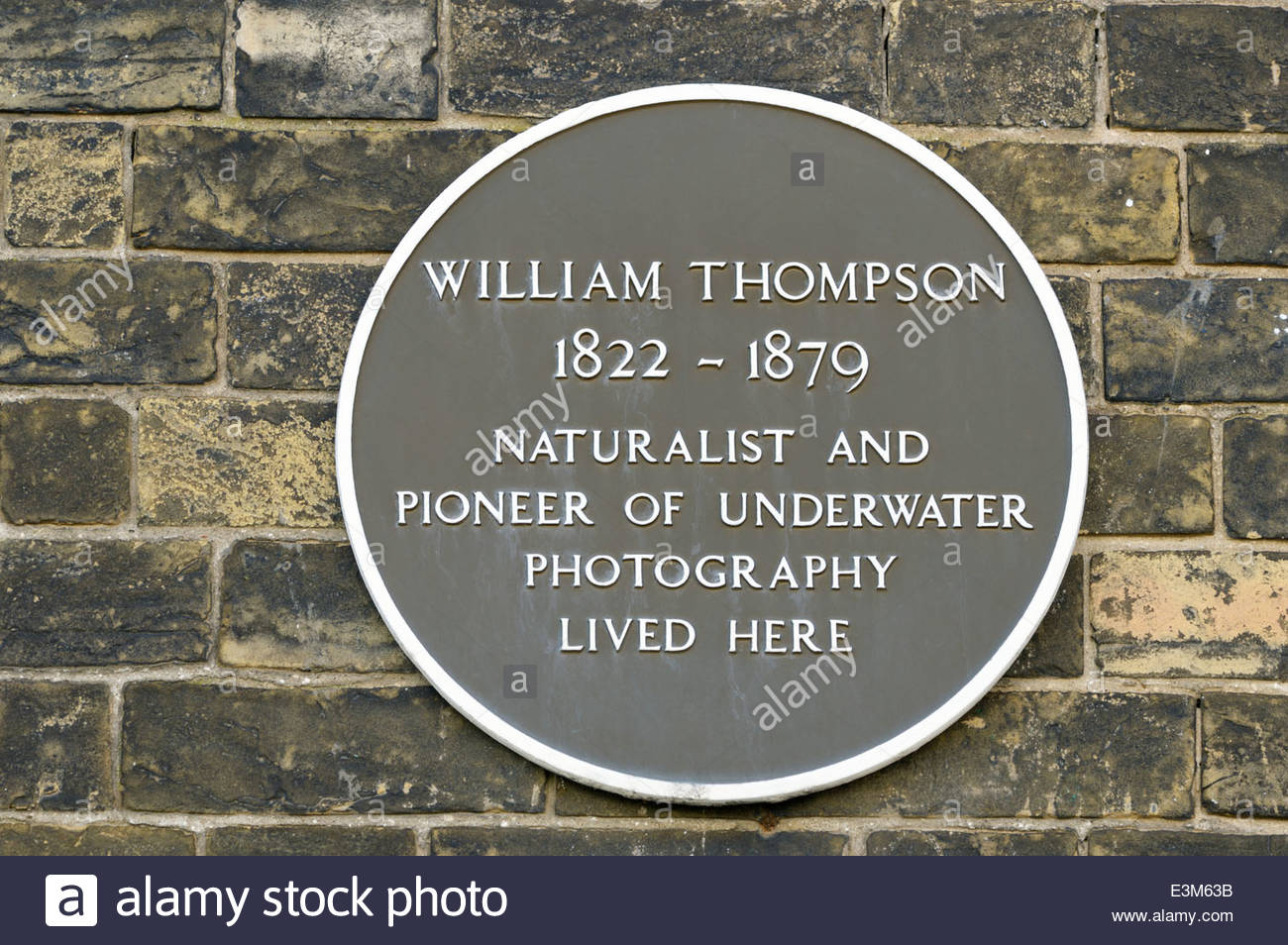 Plaque on the wall of the house in Weymouth, Dorset, England where William Thompson lived Stock Photo