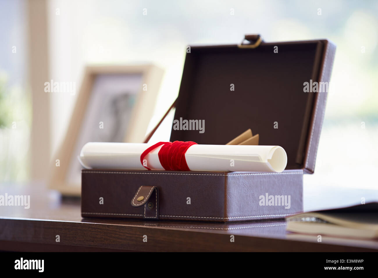 Documents And Letters In Keepsake Box On Desk - Stock Image