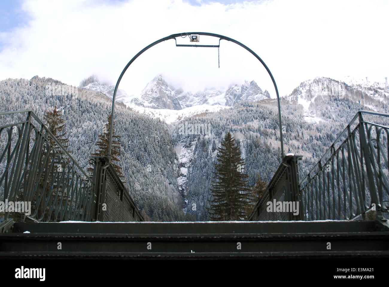 Pedestrian bridge in Chamonix, the French Alps - Stock Image