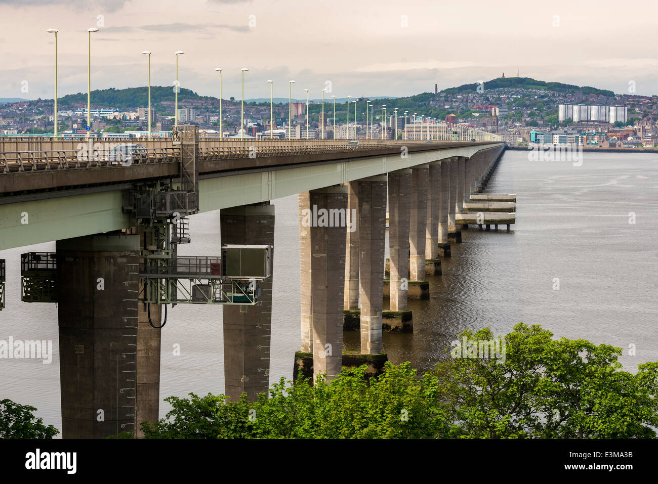 Tay road bridge with Dundee on the far bank. - Stock Image