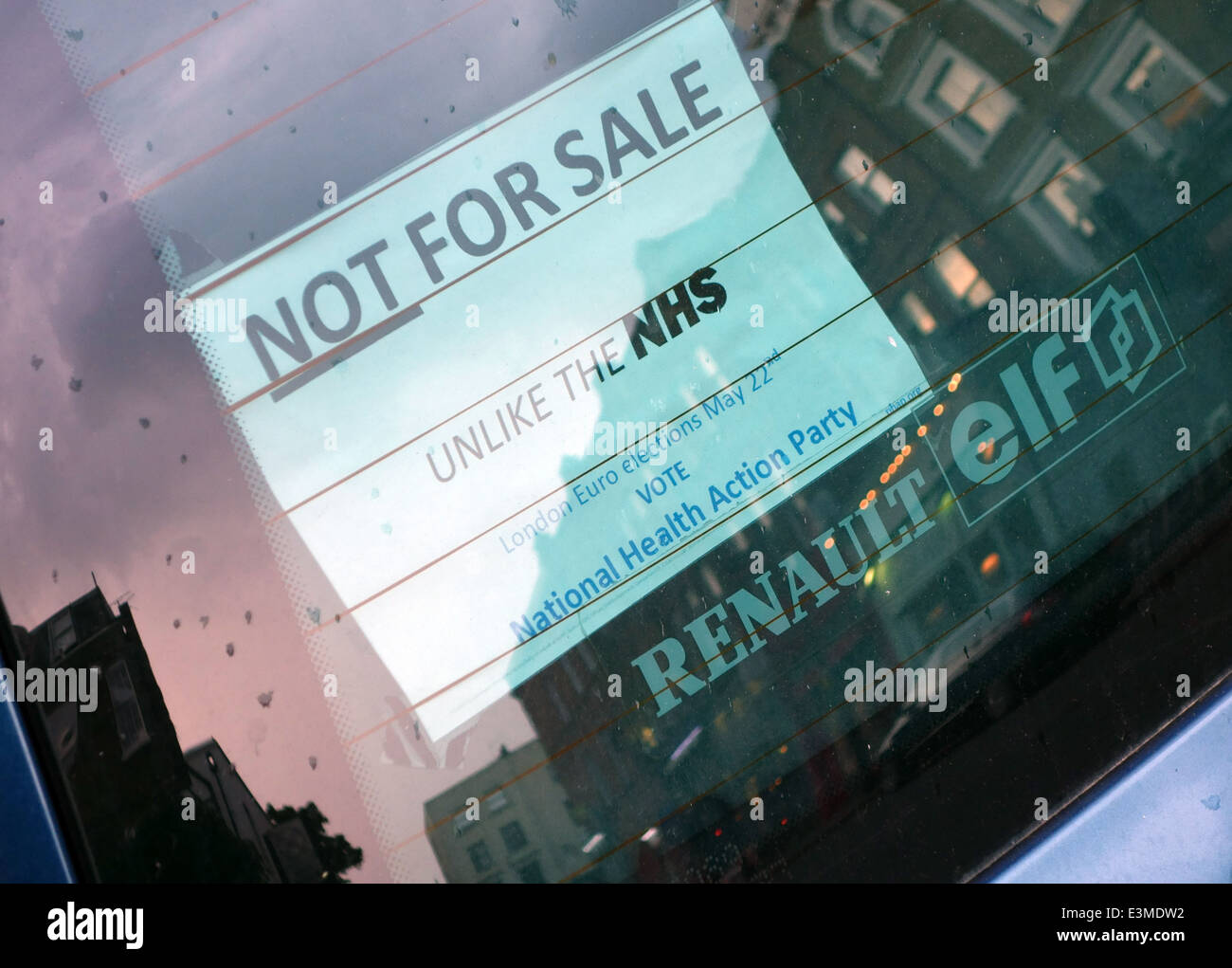 NHS not for sale sticker in car rear window, London - Stock Image