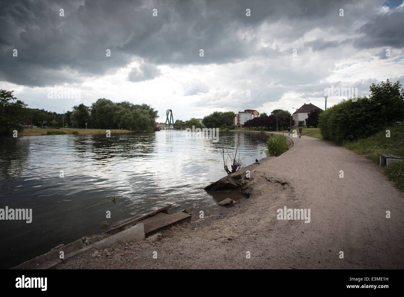 A bend in the river Brda in Bydgoszcz, Poland is seen. - Stock Image
