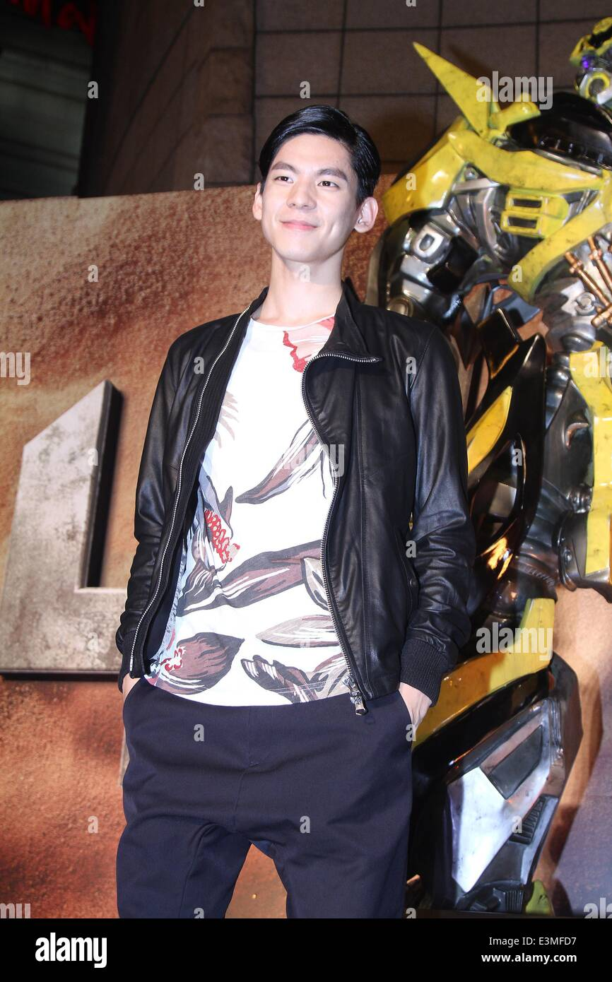 Taipei. 24th June, 2014. Actor Austin Lin attends premiere of film 'Transformers: Age of Extinction' in - Stock Image