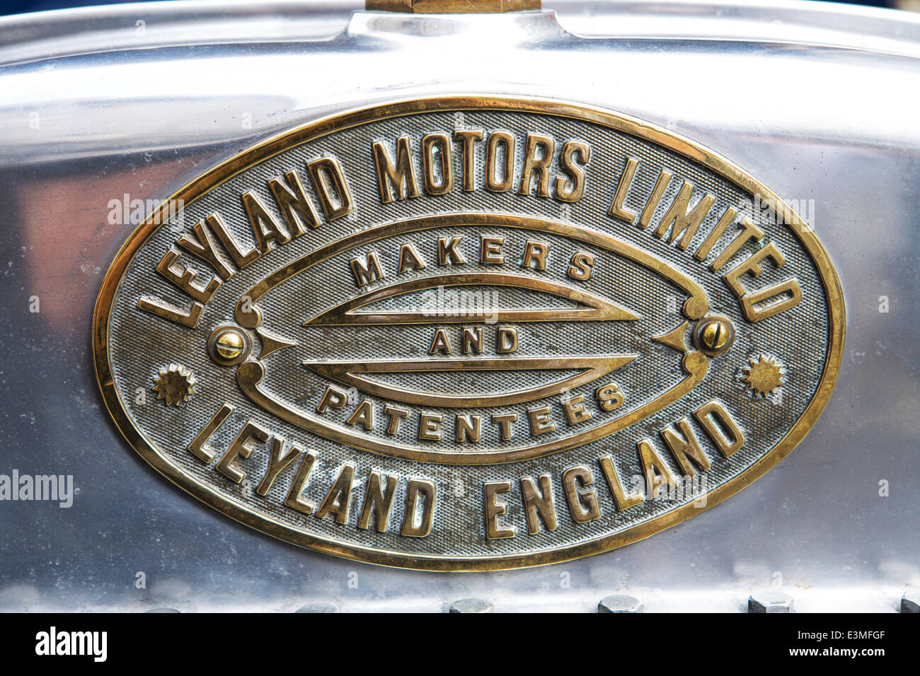 Car radiator brass plate, Leyland Motors Ltd. - Stock Image