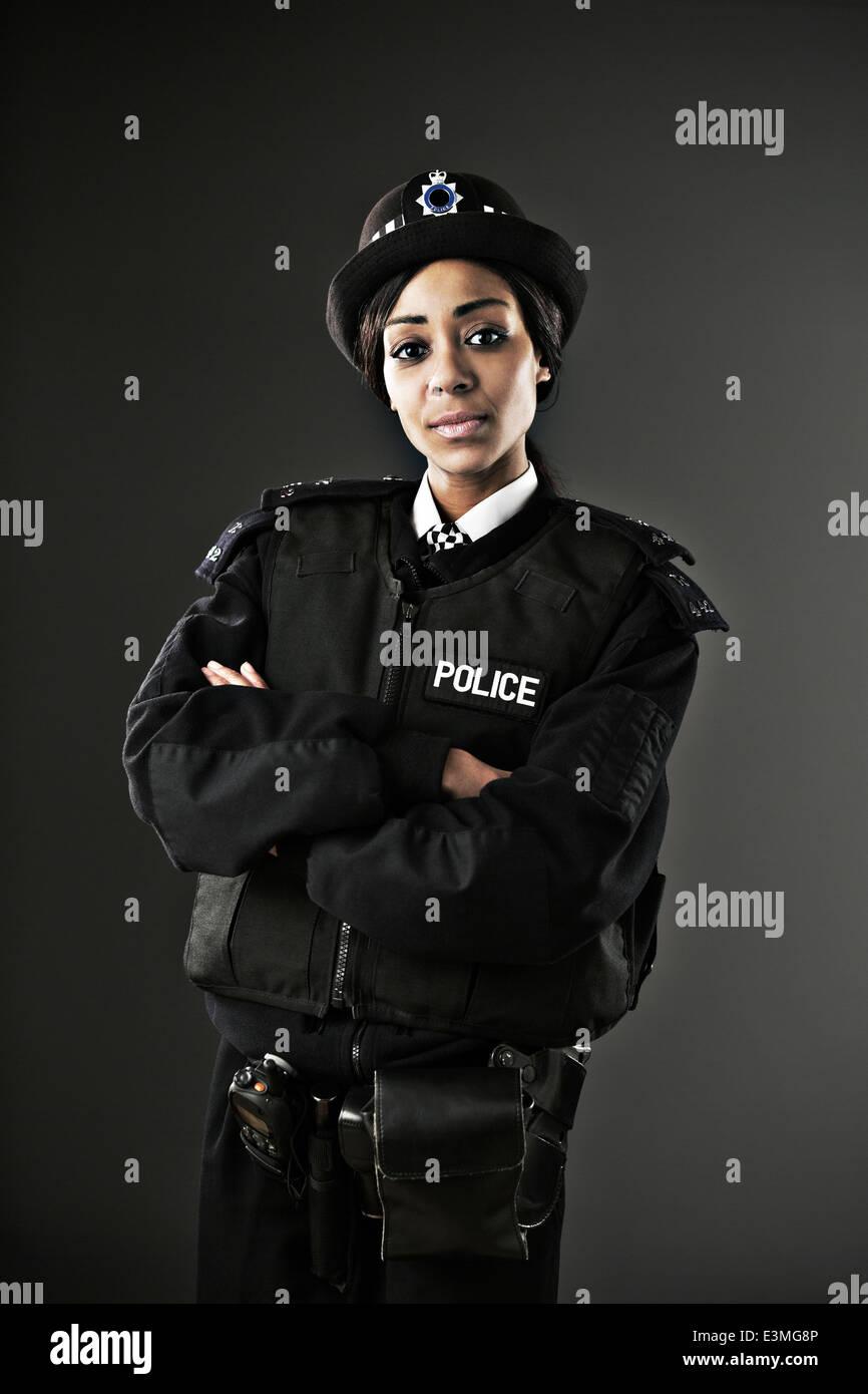 Portrait of serious policewoman Stock Photo