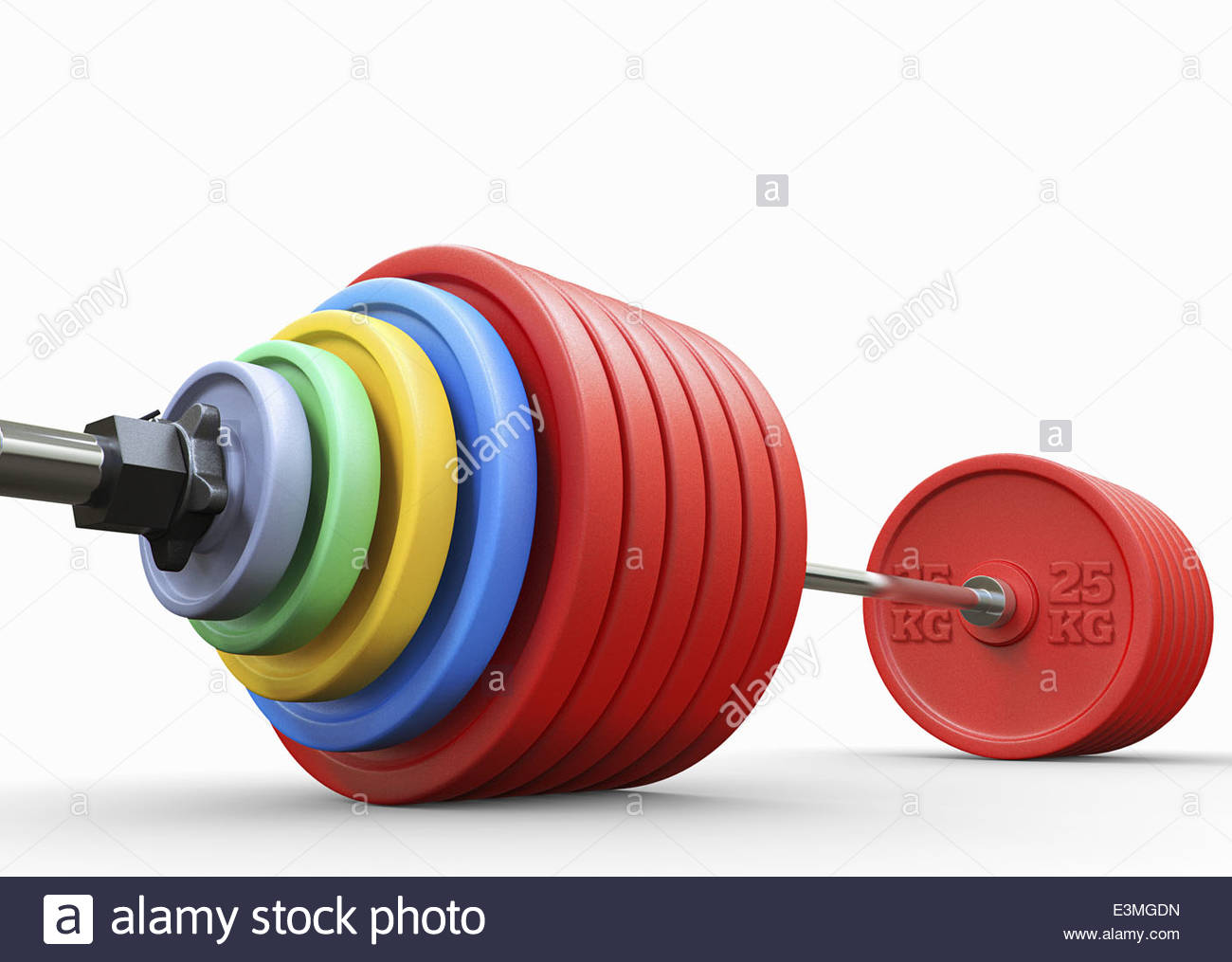 Lots of weights on heavy barbell - Stock Image
