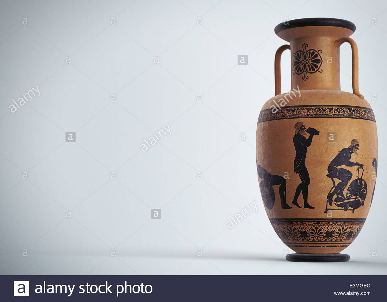 Images of man and modern exercise equipment on ancient Greek urn - Stock Image