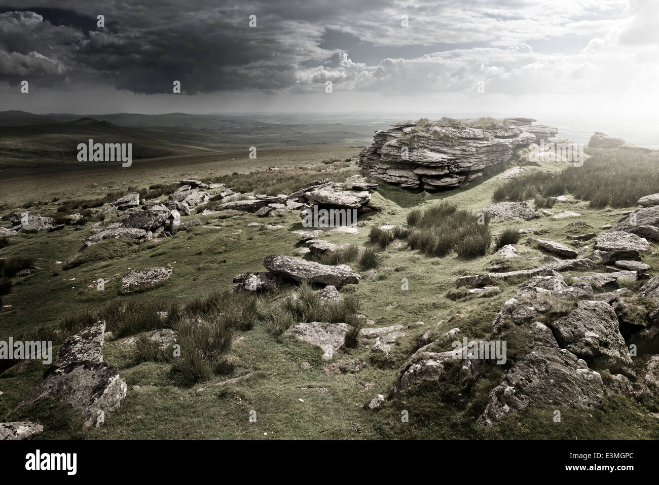 Dramatic Wild Moorlands rocks. Wild landscape from Dartmoor, UK - Stock Image