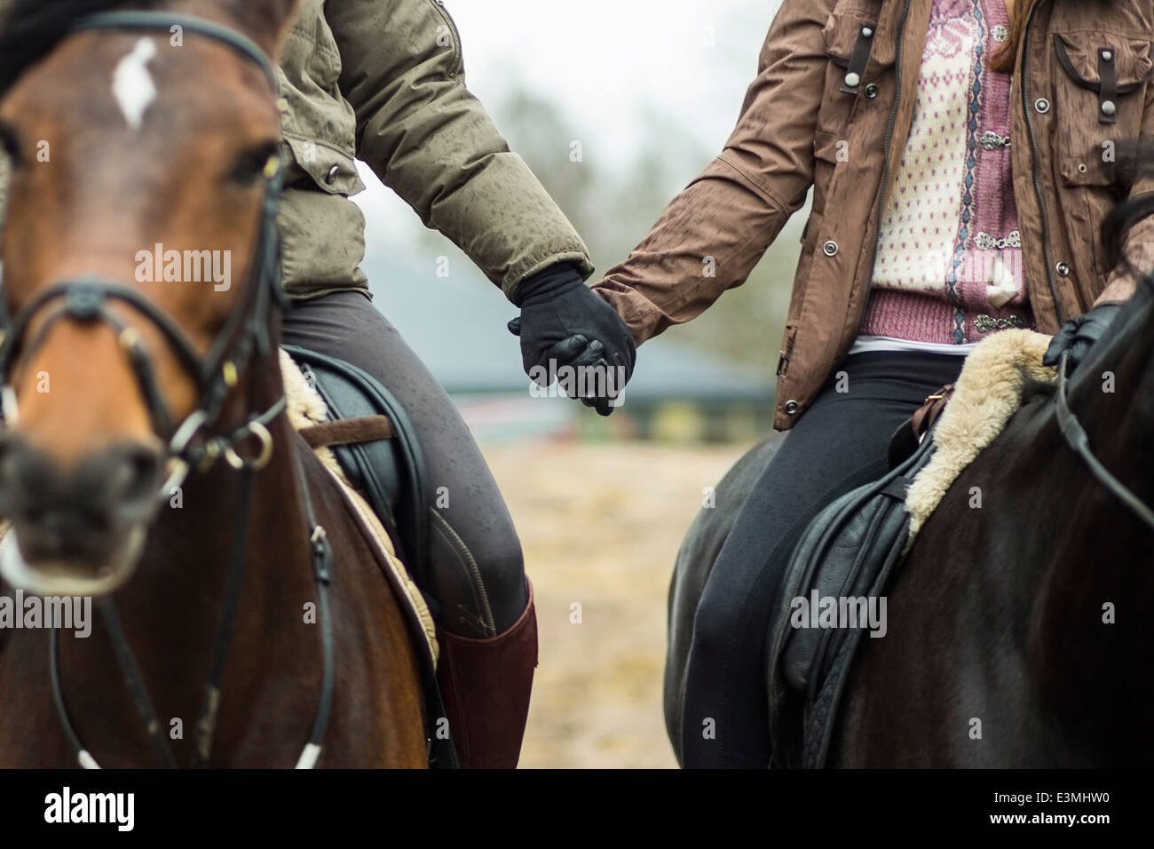 Low section of couple holding hands while riding horses - Stock Image