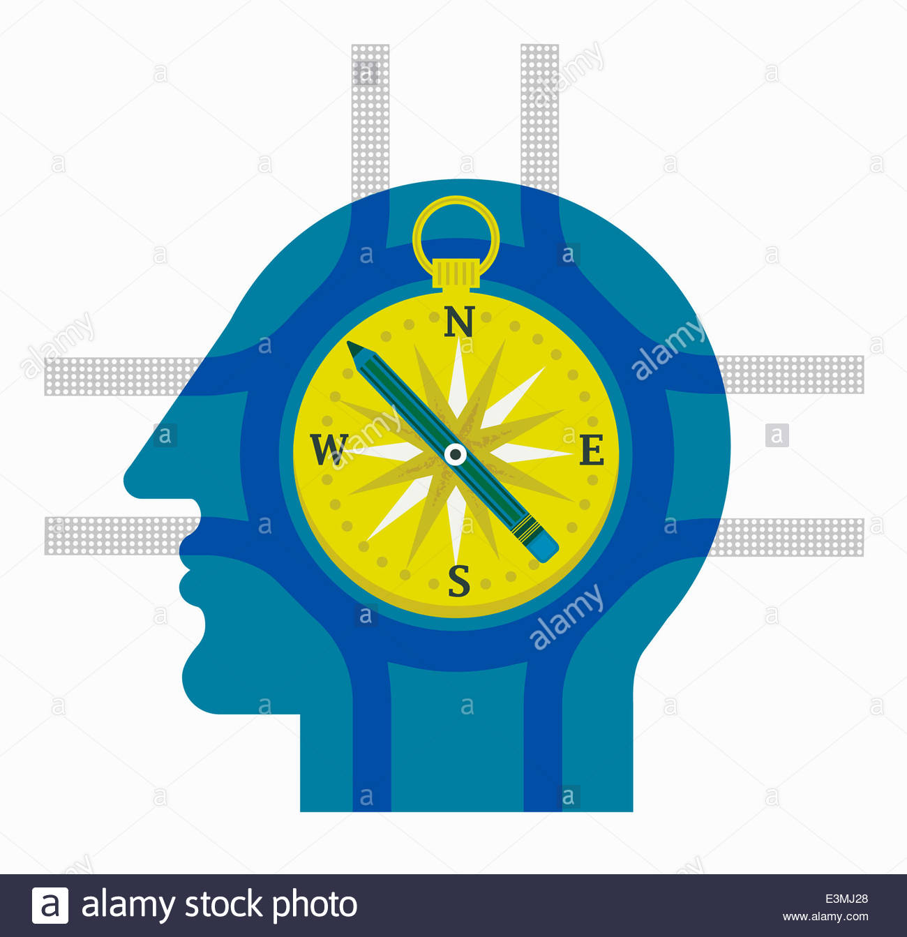 Compass and crossroads inside of man's head - Stock Image