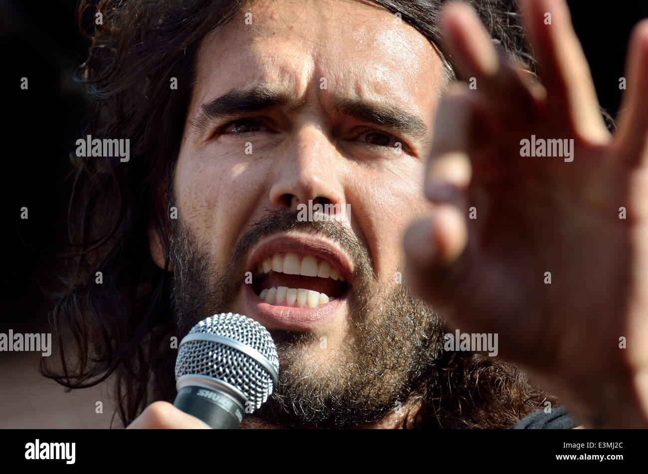 Russell Brand, comedian, speaking at The People's Assembly demonstration against Austerity, Parliament Sq, 21st - Stock Image