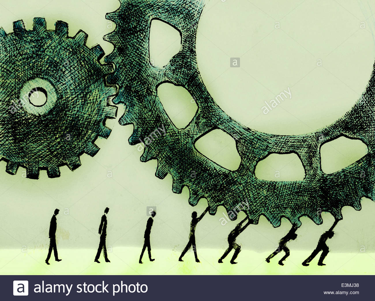Men lining up to turn cogs - Stock Image