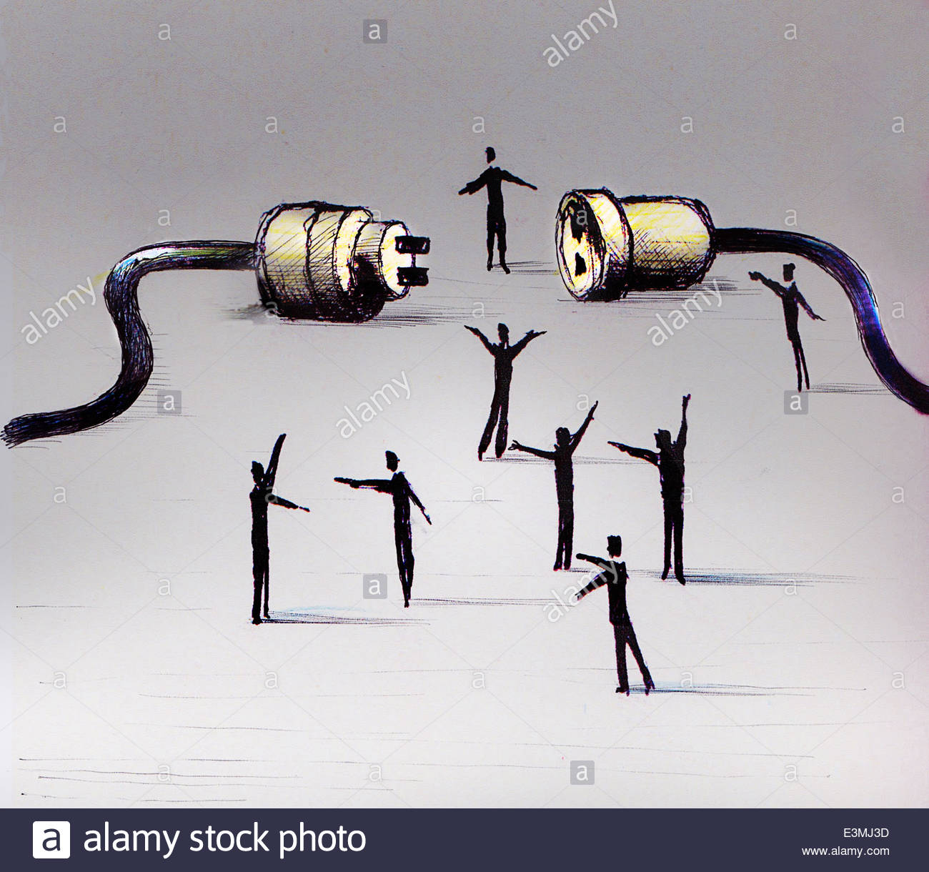 Businessmen working together making connection with electric plug - Stock Image