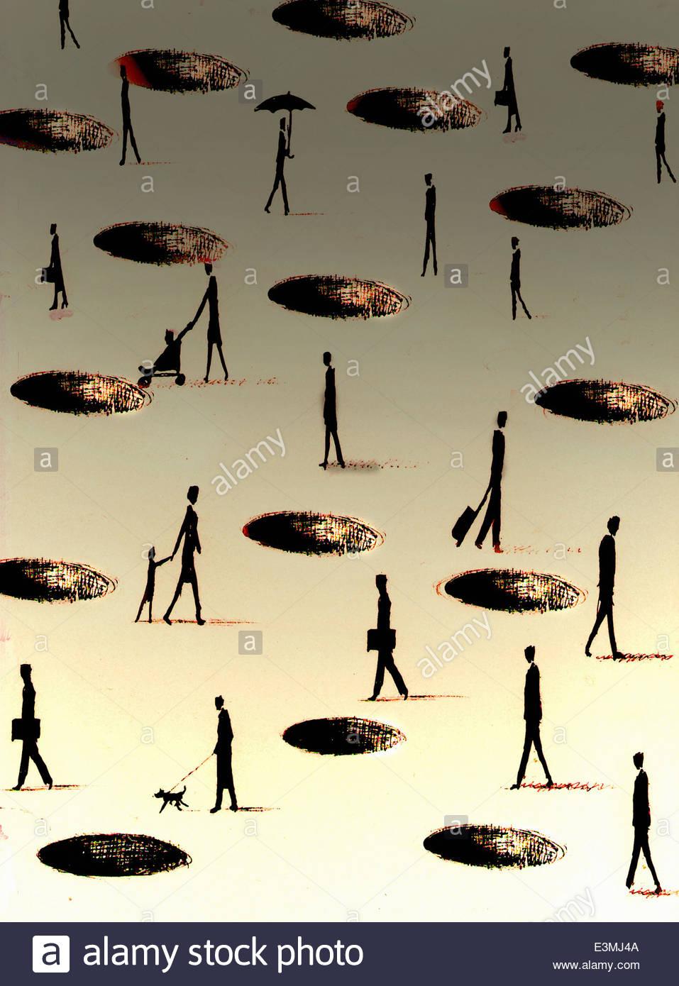 People walking around holes in ground - Stock Image