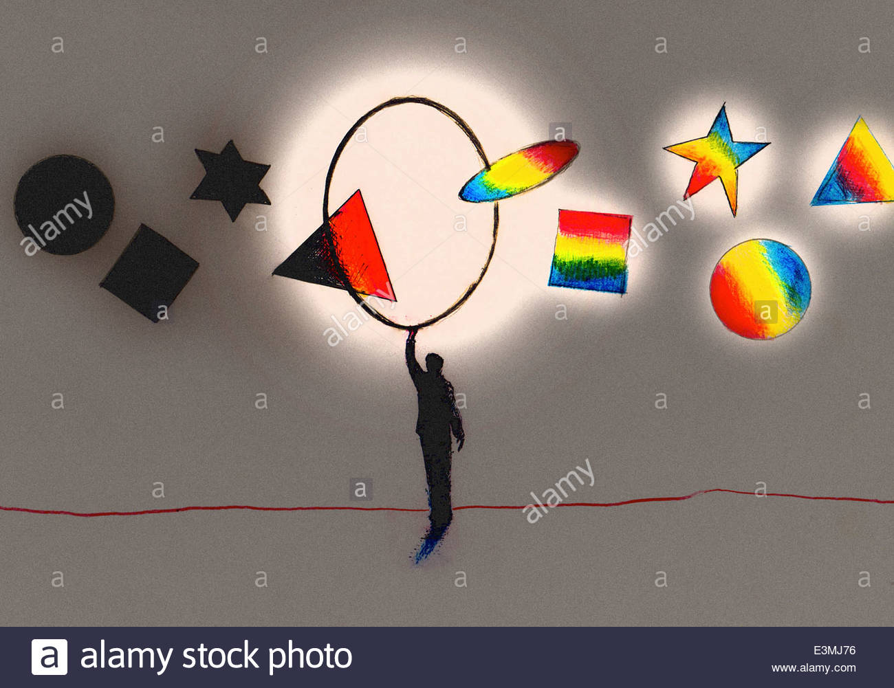 Geometric shapes changing from dark to light as move through hoop held by man - Stock Image