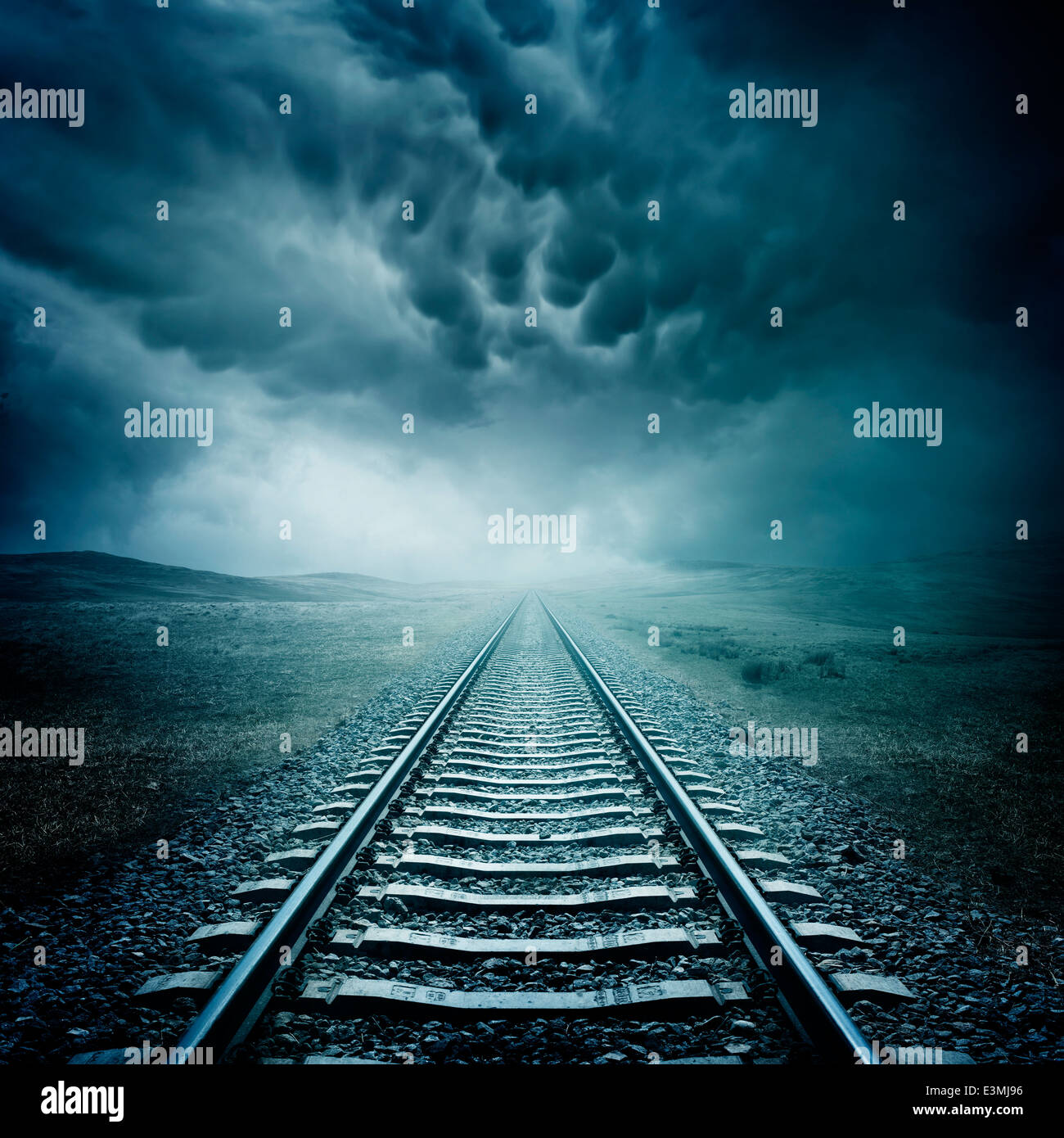 Railway Tracks. A long journey into the unknown... - Stock Image