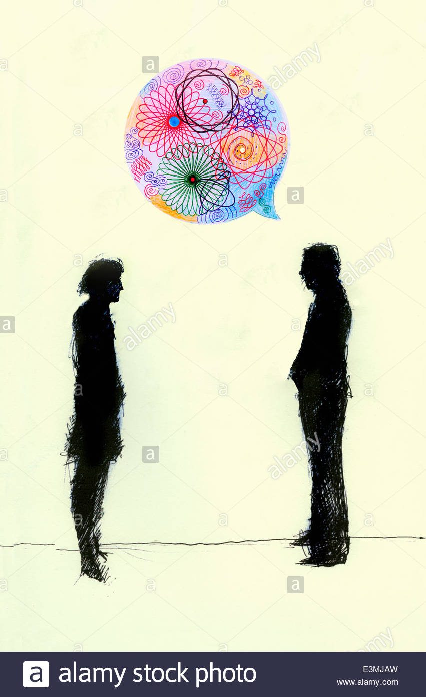 Businessman talking to businesswoman in colorful pattern speech bubble - Stock Image