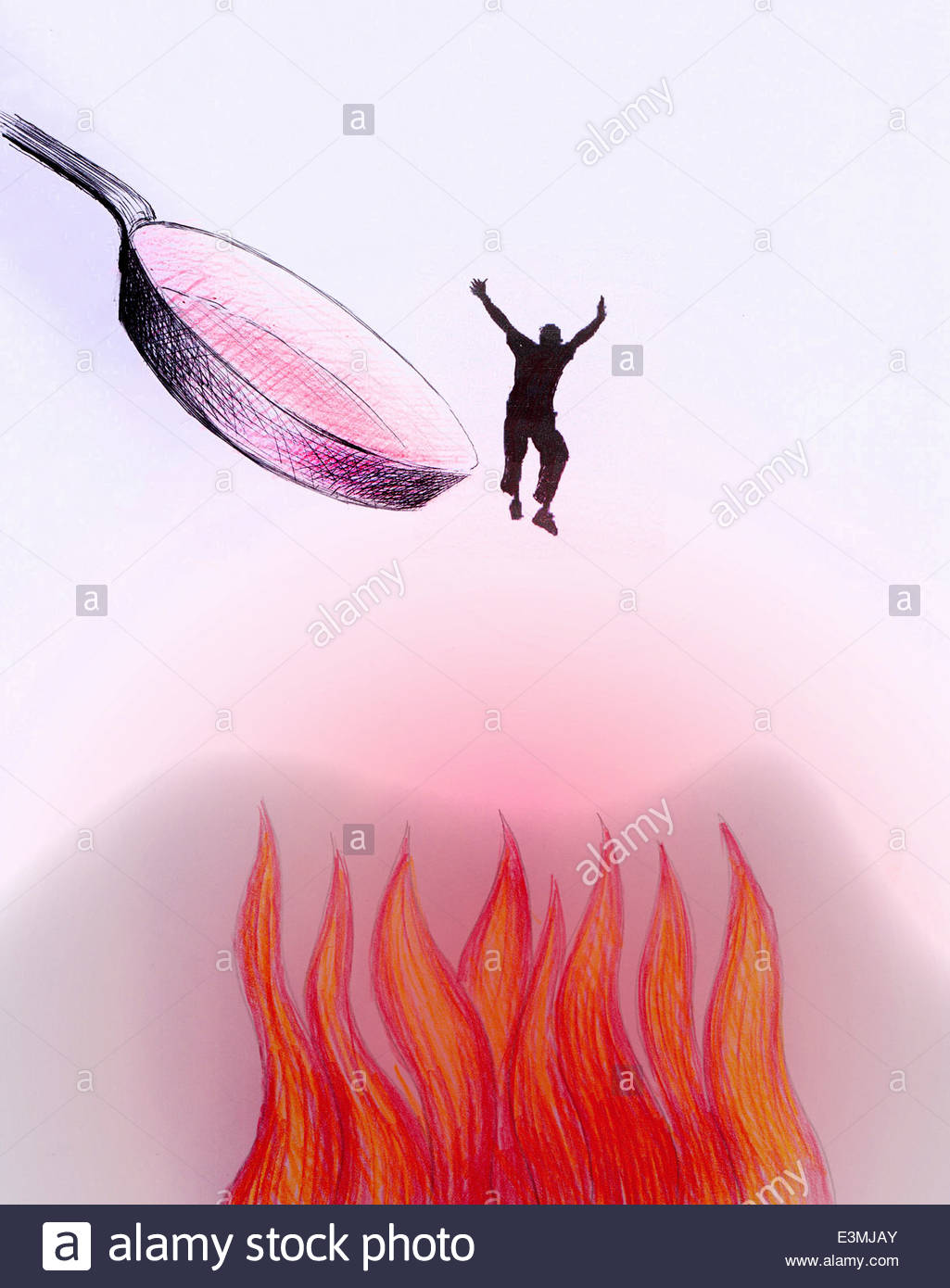 Man Jumping Out Of The Frying Pan And Into The Fire Stock