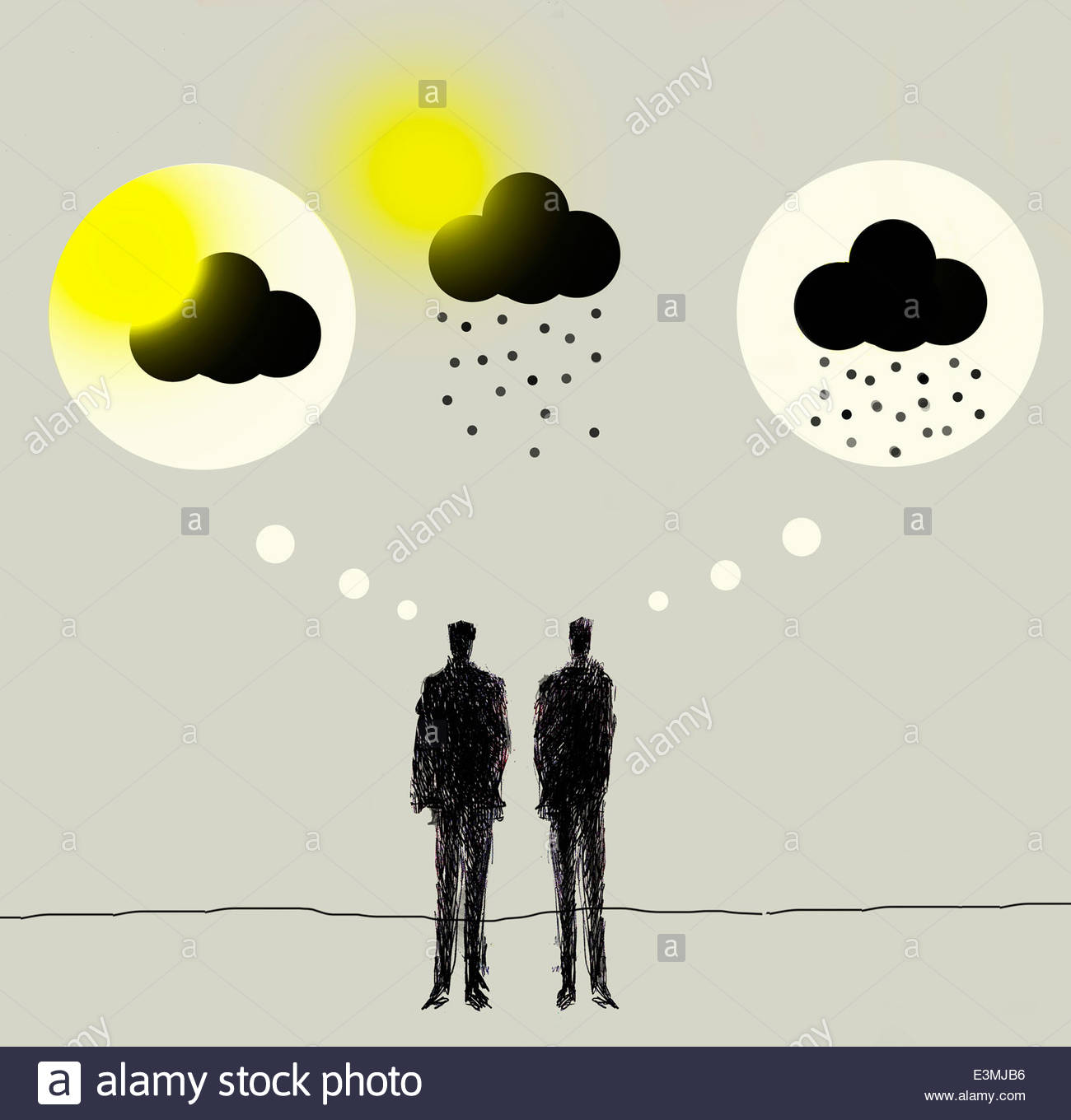 Contrasting sun and rain clouds in thought bubbles above businessmen - Stock Image