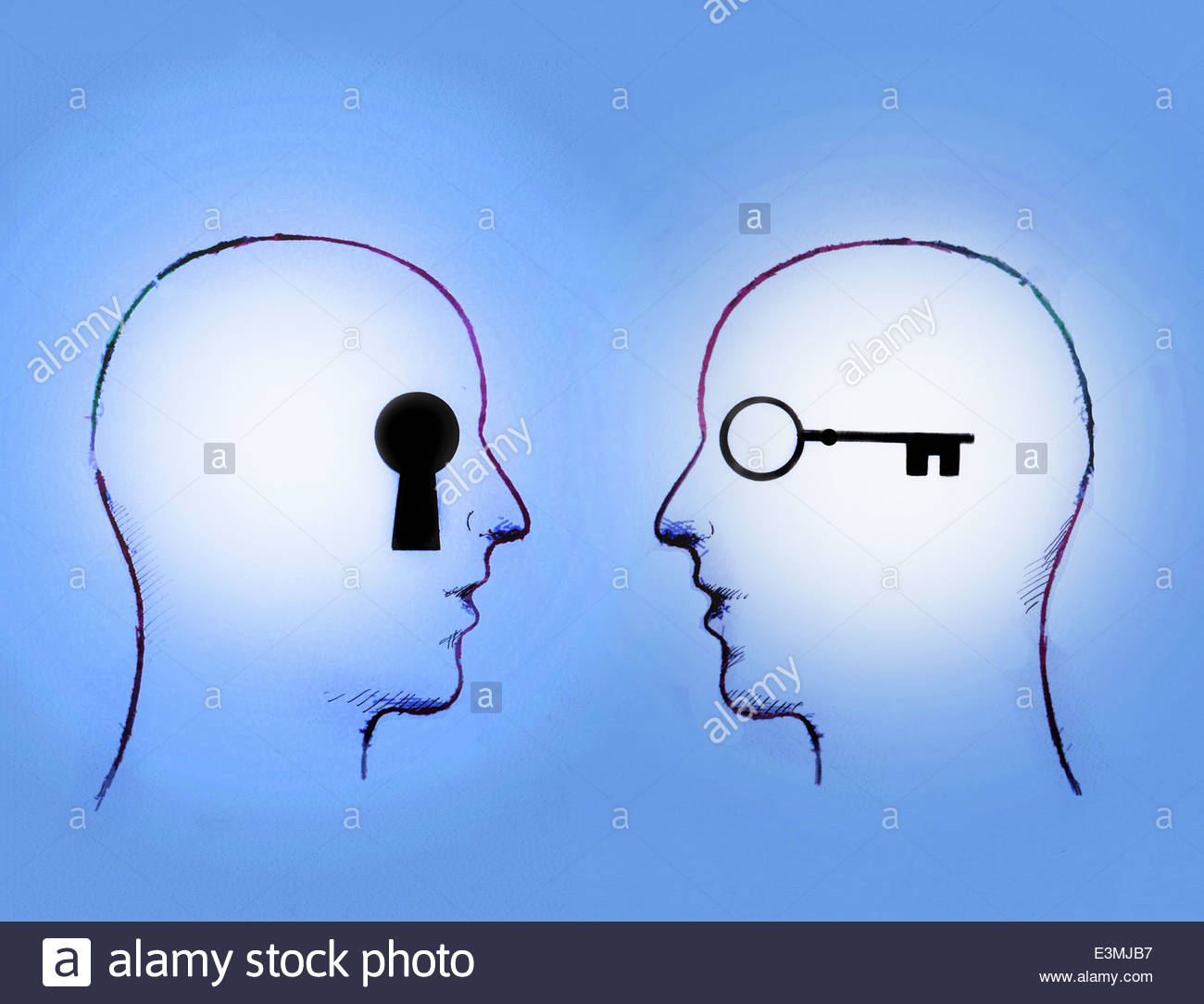 Key and keyhole inside of men's heads face to face - Stock Image