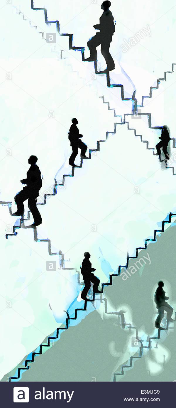 Businessmen climbing stairs - Stock Image