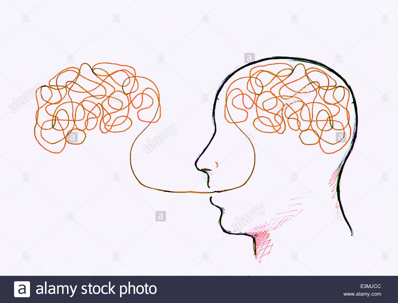 Tangled line inside man's head connected to tangled line outside - Stock Image