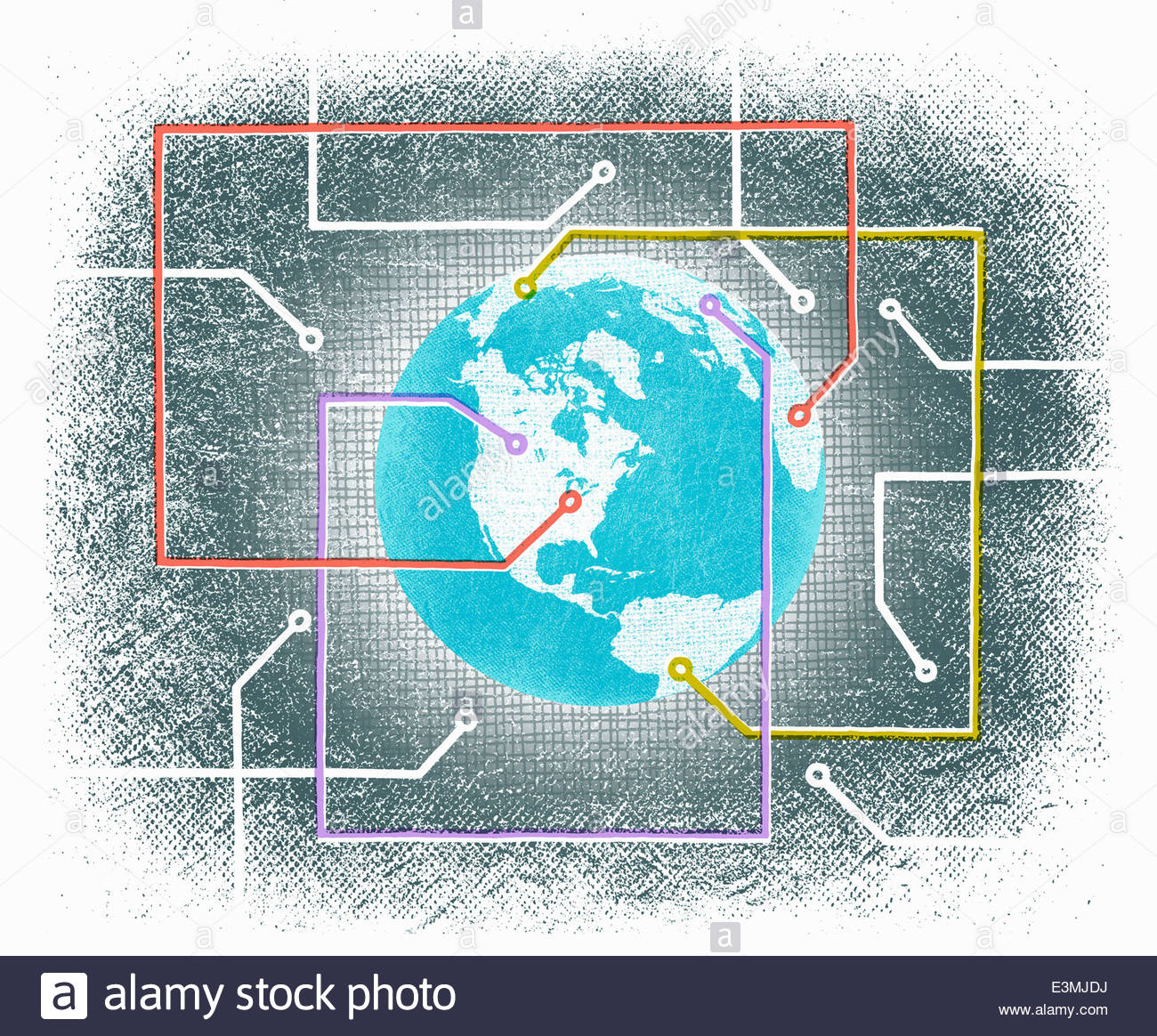 Circuit board connections over globe - Stock Image