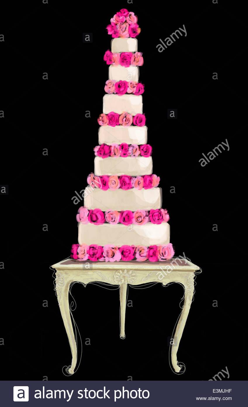 Wedding Cake Black White Elegant Stock Photos & Wedding Cake Black ...