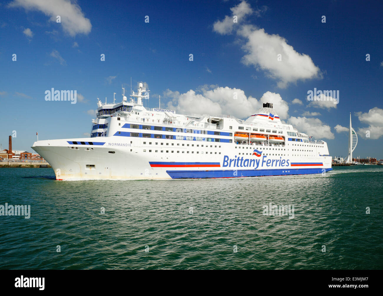 Brittany Ferry Normandie, arriving at Portsmouth. - Stock Image