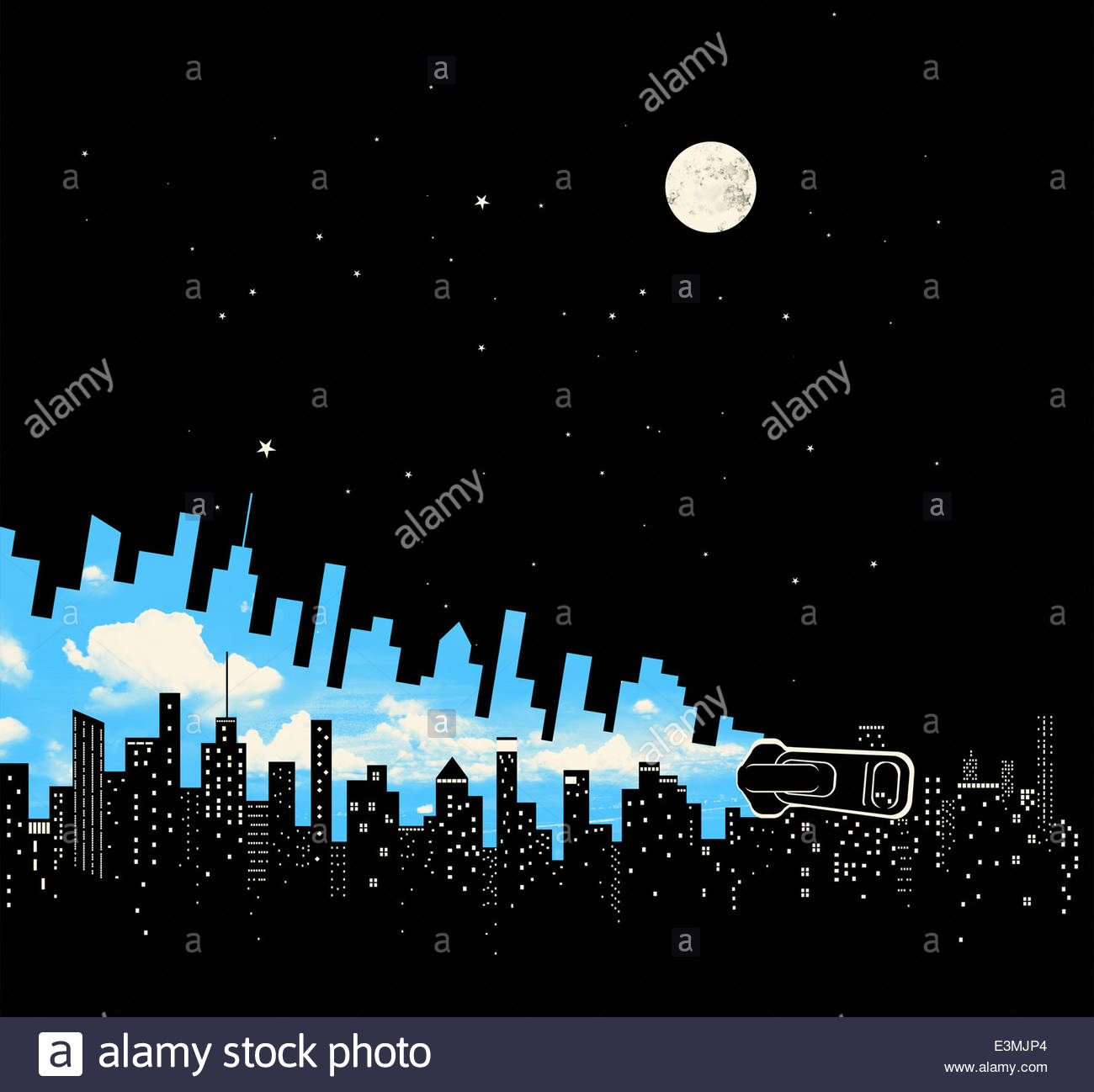 Zipper changing city skyline from dark night into blue sky day - Stock Image