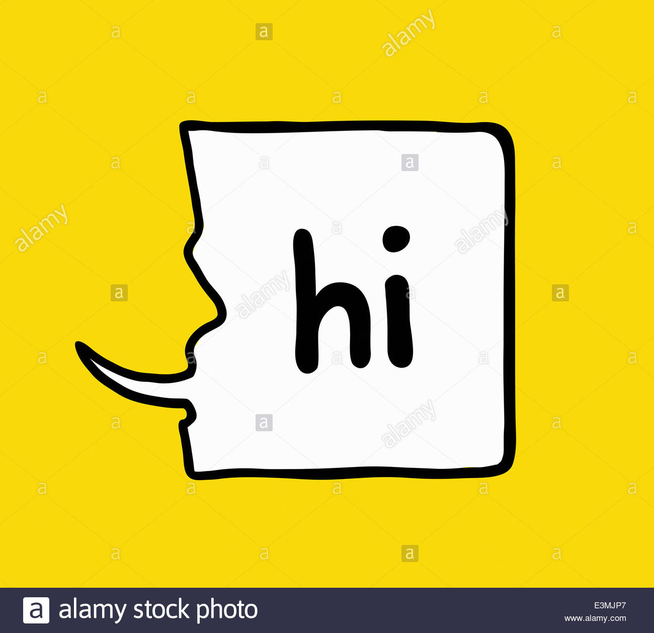 Profile of face saying 'Hi' in speech bubble - Stock Image