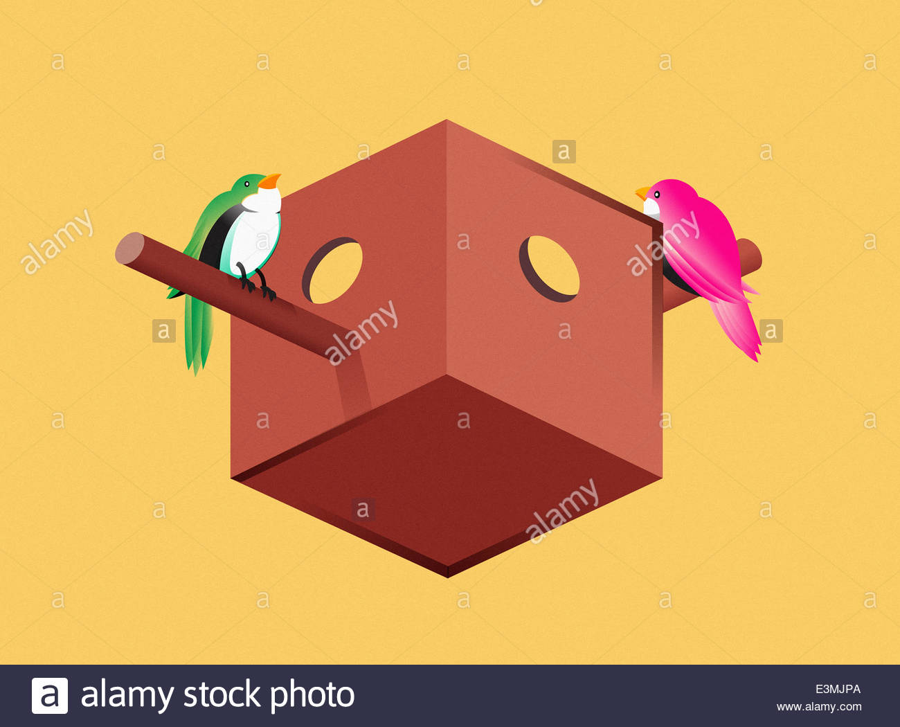 Birds on perches of optical illusion birdhouse - Stock Image