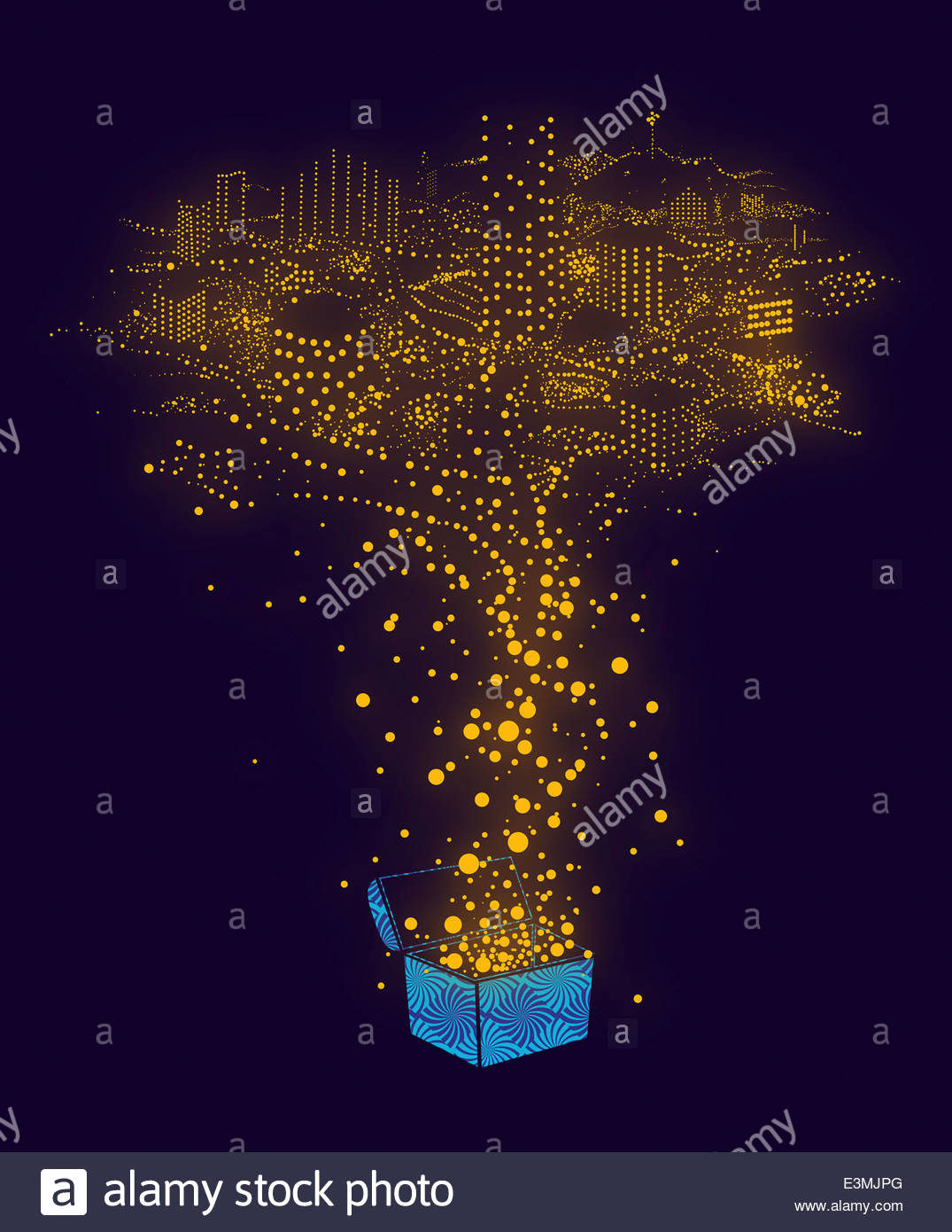 Illuminated dots from treasure chest forming city - Stock Image