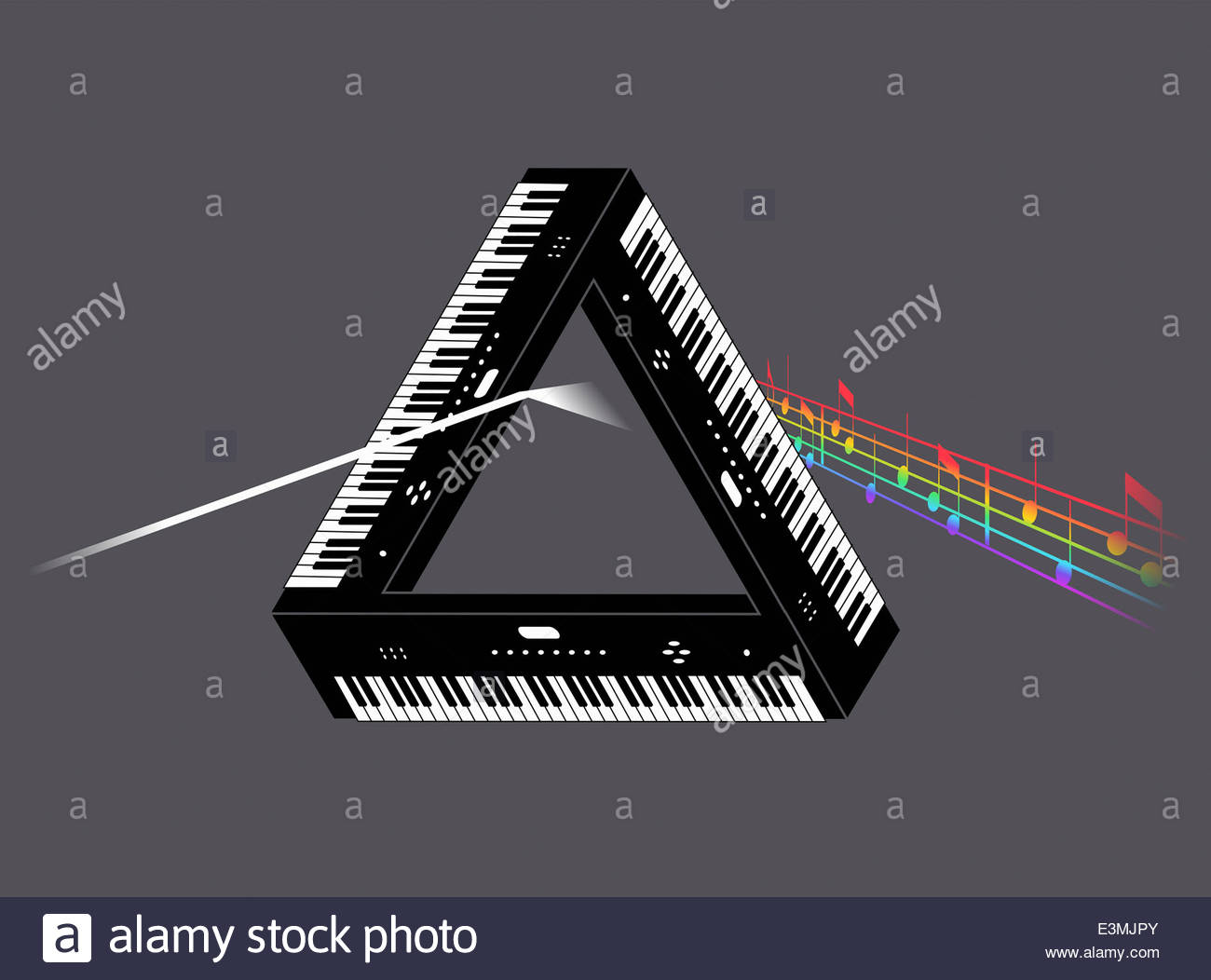 Triangle of keyboards forming prism for multicolored music notes - Stock Image